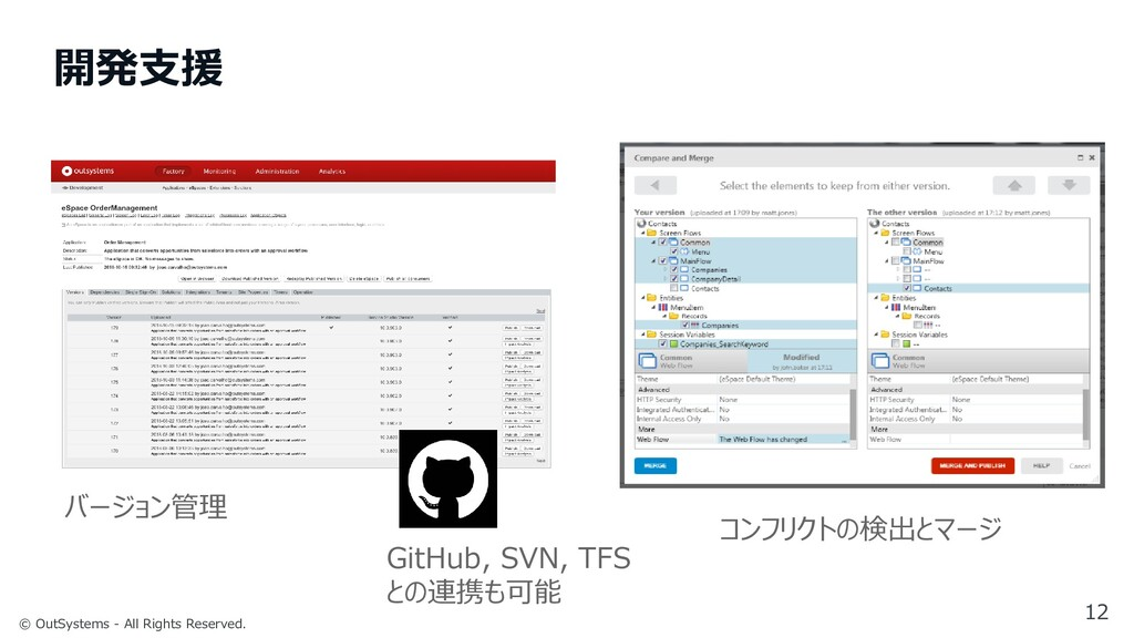 © OutSystems - All Rights Reserved. 開発支援 12 バージ...