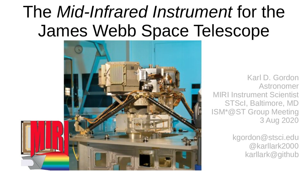 The Mid-Infrared Instrument for the James Webb ...