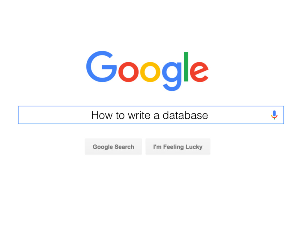 How to write a database