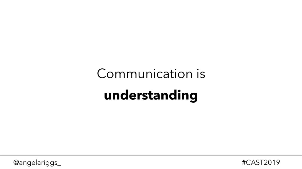 @angelariggs_ #CAST2019 Communication is unders...