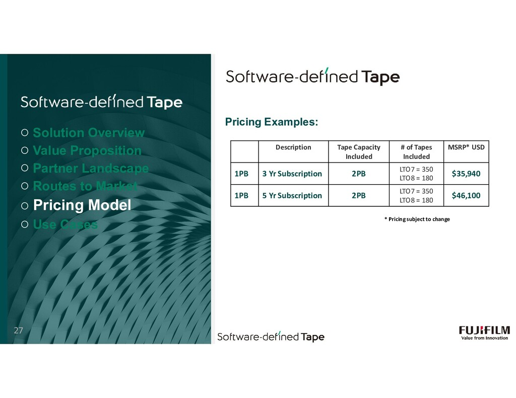 Pricing Examples: Description Tape Capacity Inc...