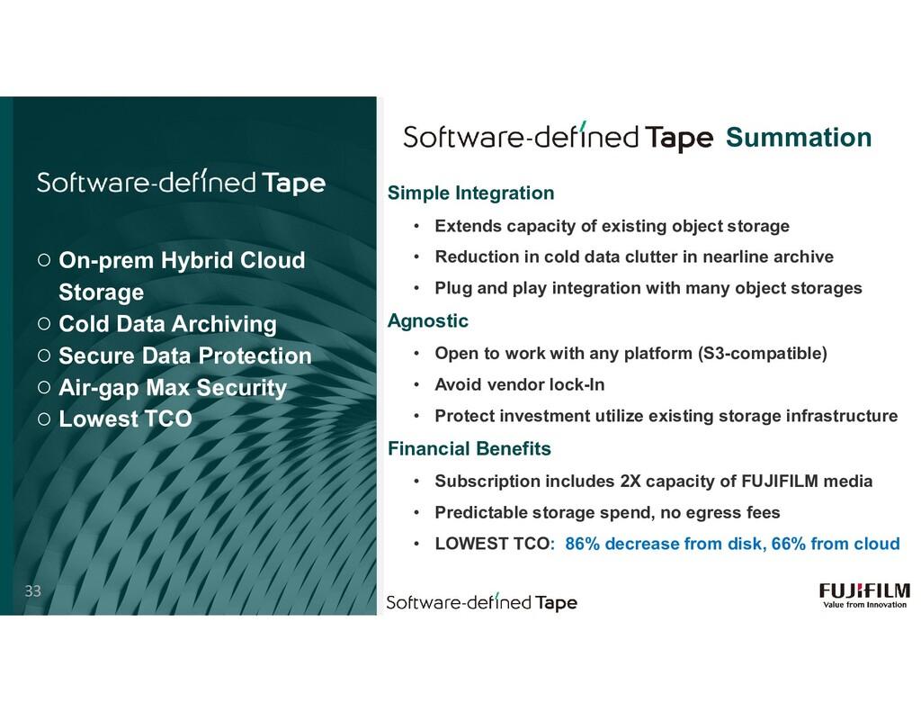 ○ On-prem Hybrid Cloud Storage ○ Cold Data Arch...