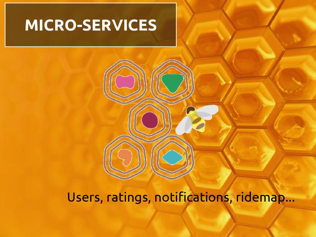 Users, ratings, notifications, ridemap... MICRO...