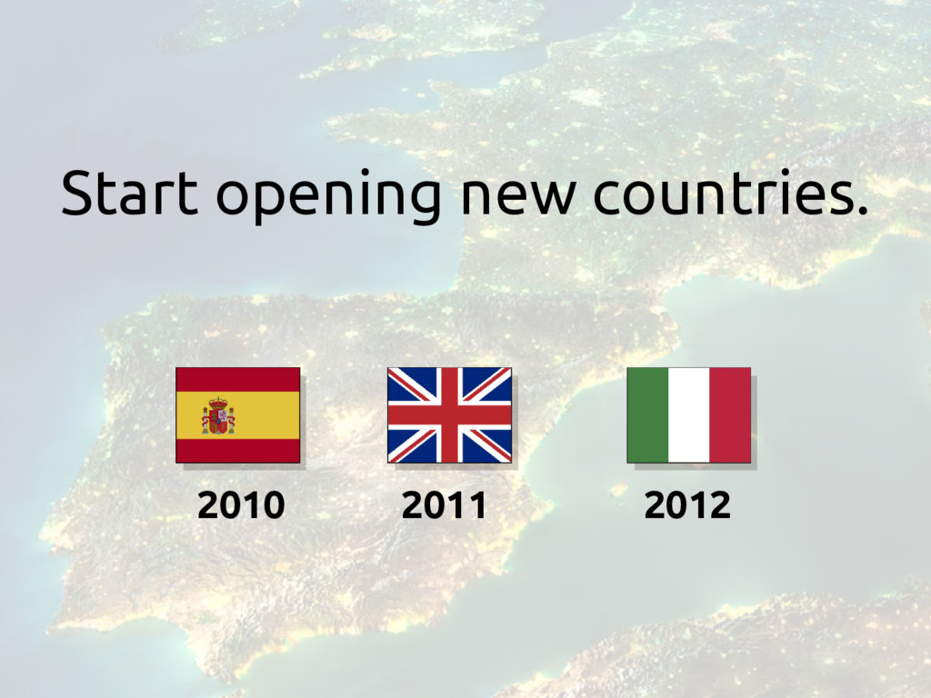 2010 Start opening new countries. 2011 2012