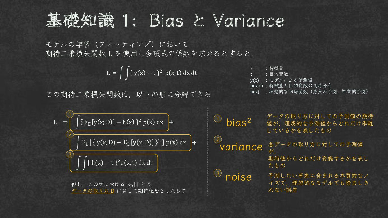 基礎知識 1 : バイアス と バリアンス モデルの学習(フィッティング)の際は 期待二乗損失...