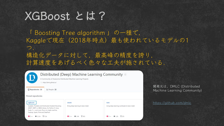 XGBoost とは? 「 Boosting Tree algorithm 」の一種で、 Ka...