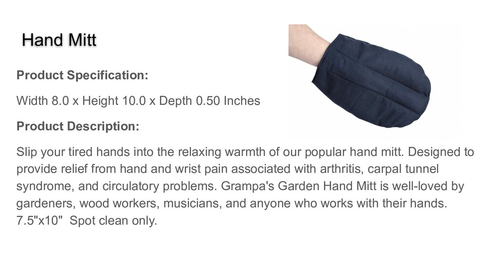 Hand Mitt Product Specification: Width 8.0 x He...