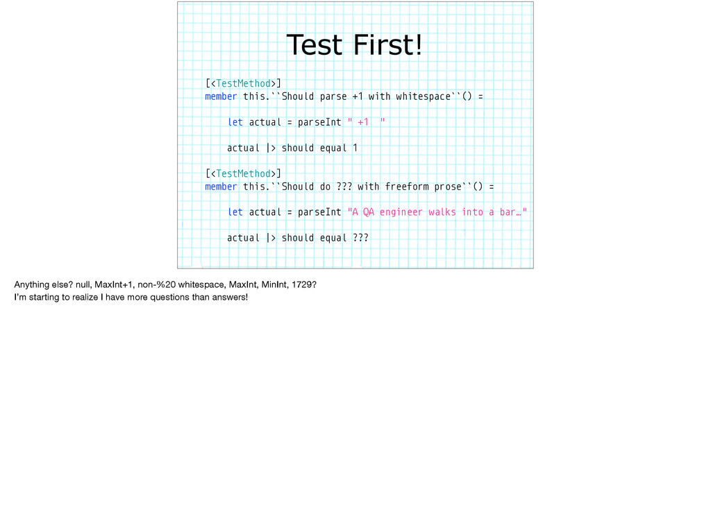 Test First! [<TestMethod>] member this.``Should...
