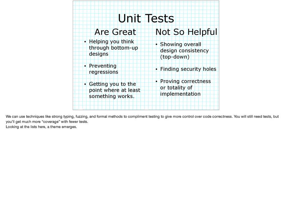Unit Tests • Helping you think through bottom-u...
