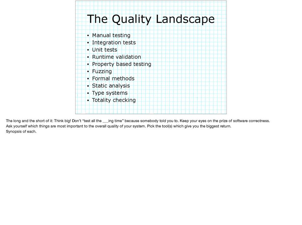 The Quality Landscape • Manual testing • Integr...