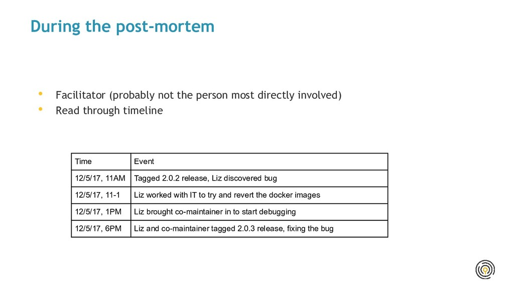 During the post-mortem • Facilitator (probably ...