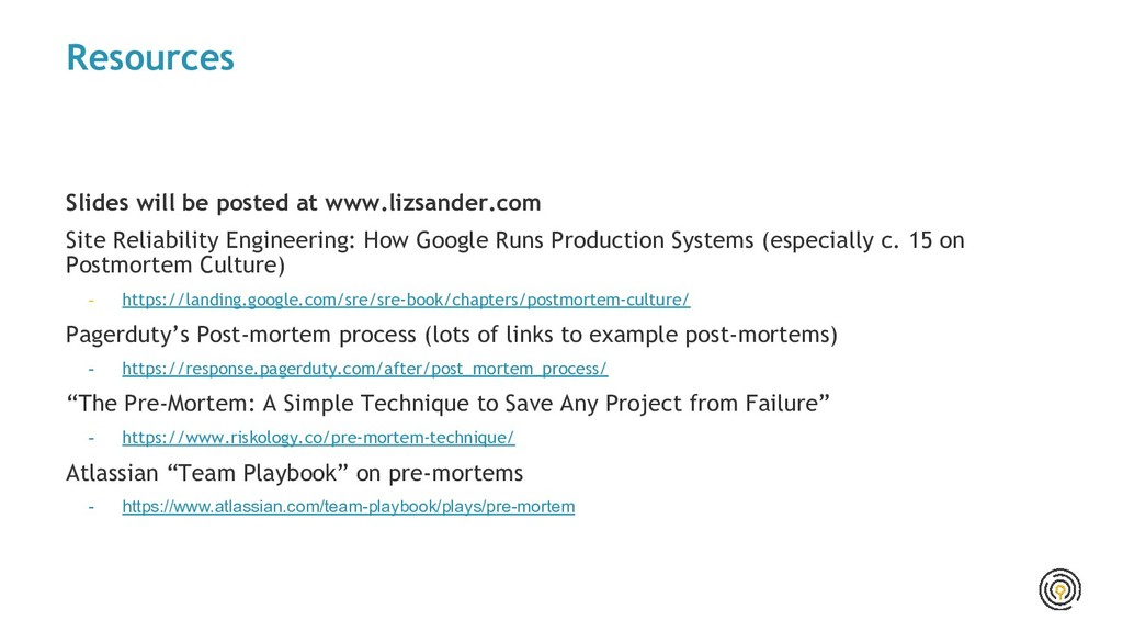 Resources Slides will be posted at www.lizsande...