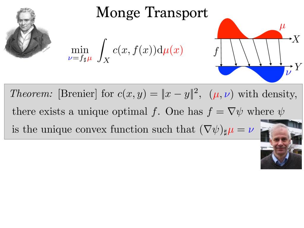 Monge Transport min ⌫=f]µ Z X c(x, f(x))dµ(x) f...