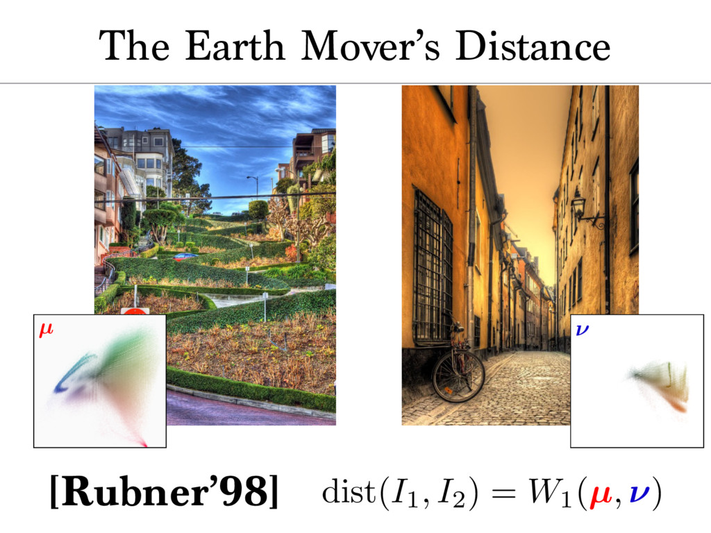 The Earth Mover's Distance µ ⌫ dist(I1, I2) = W...