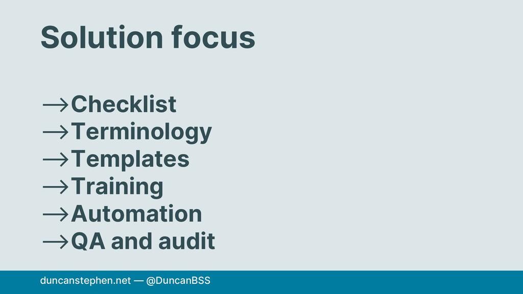 Solution focus ⟶Checklist ⟶Terminology ⟶Templat...