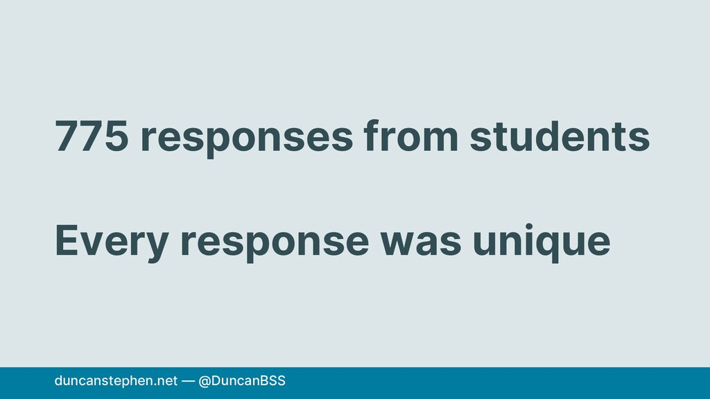 775 responses from students Every response was ...