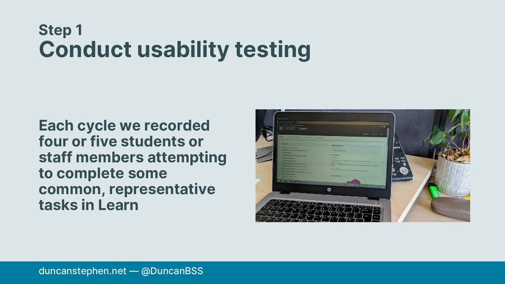 Step 1 Conduct usability testing Each cycle we ...