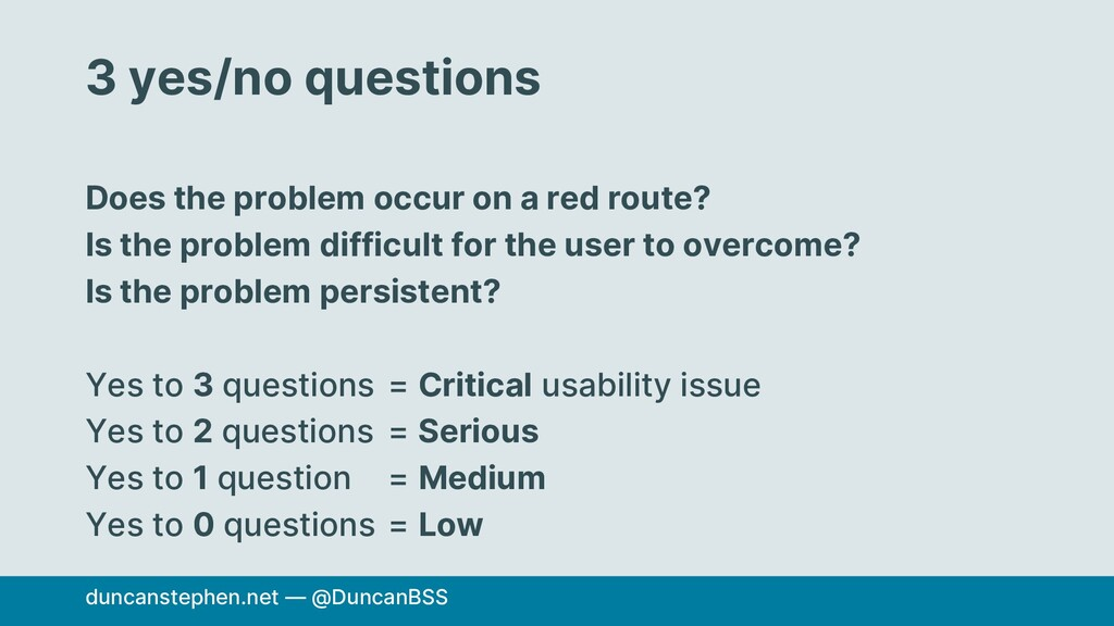 3 yes/no questions Does the problem occur on a ...