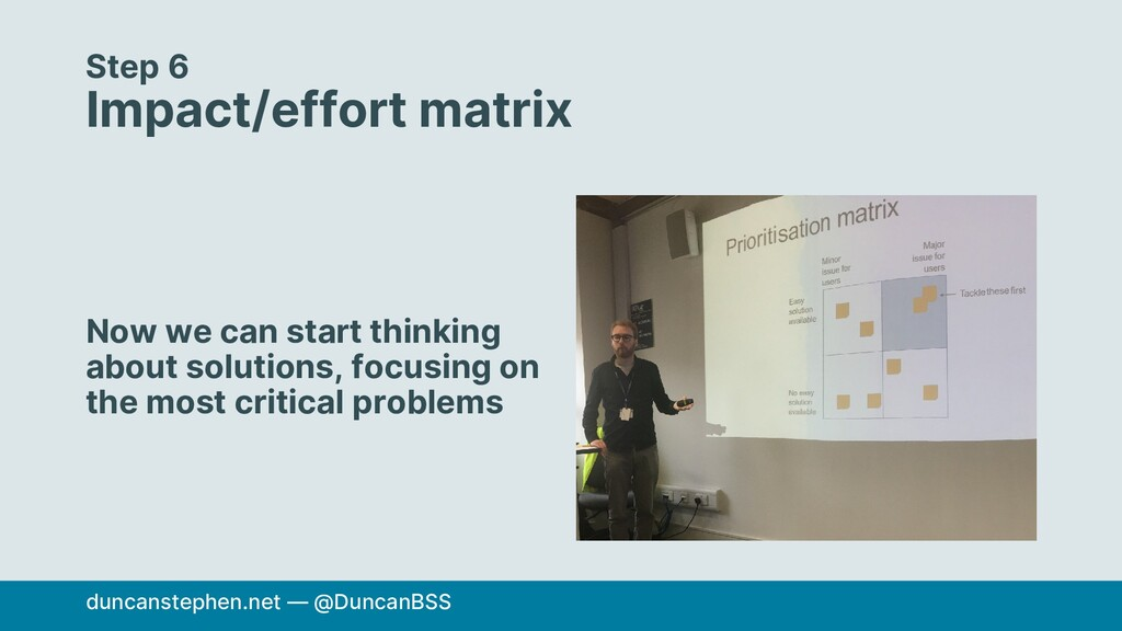 Step 6 Impact/effort matrix Now we can start th...