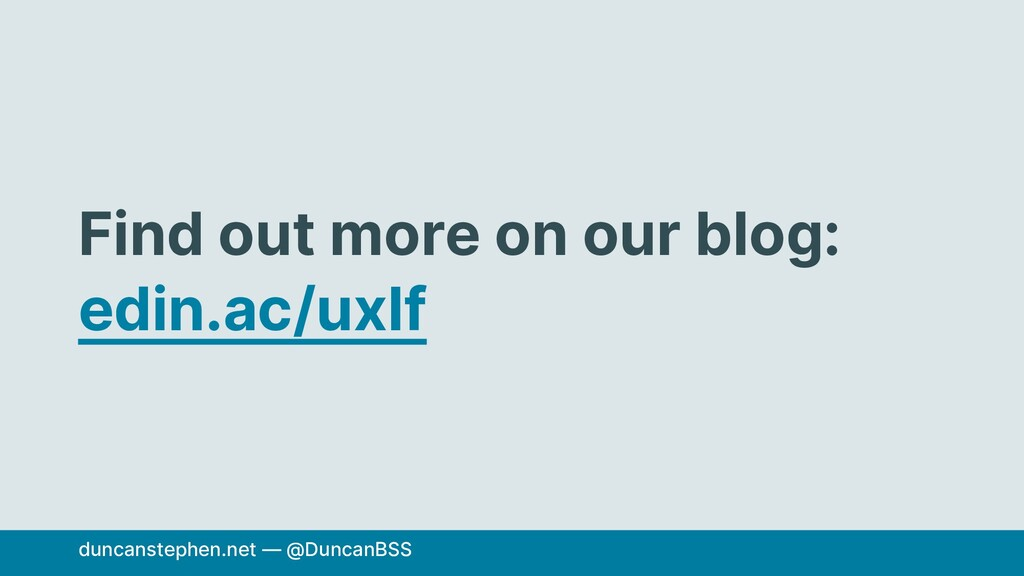 Find out more on our blog: edin.ac/uxlf duncans...