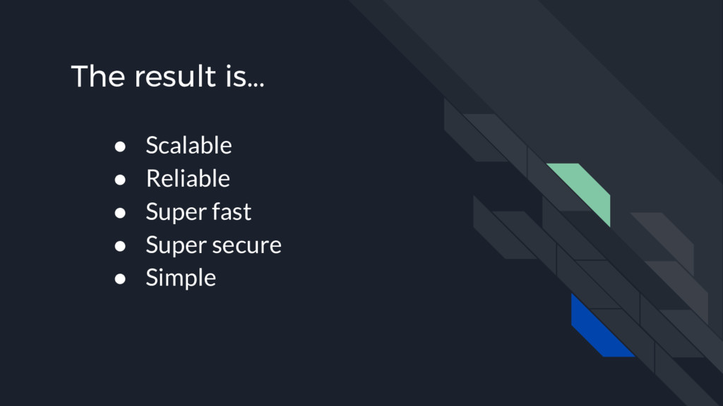 The result is... ● Scalable ● Reliable ● Super ...
