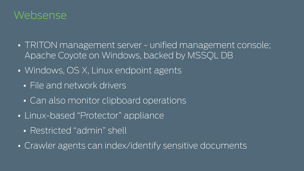 Websense • TRITON management server - unified ma...
