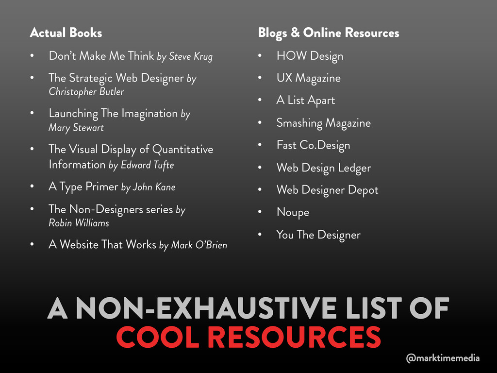 A NON-EXHAUSTIVE LIST OF COOL RESOURCES Actual ...