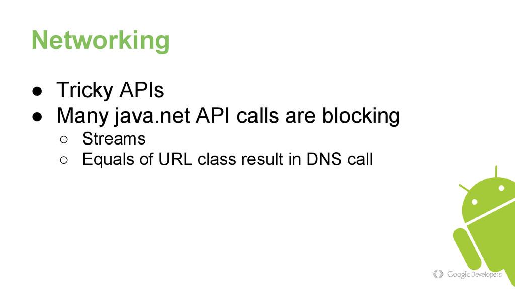Networking ● Tricky APIs ● Many java.net API ca...