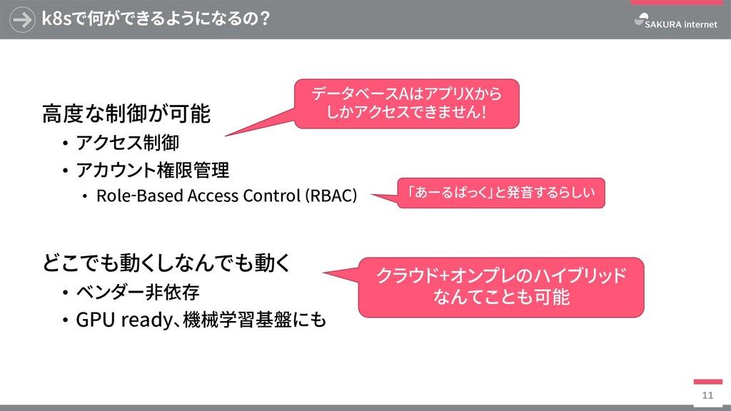 k8sで何ができるようになるの? ⾼度な制御が可能 • アクセス制御 • アカウント権限管理 ...