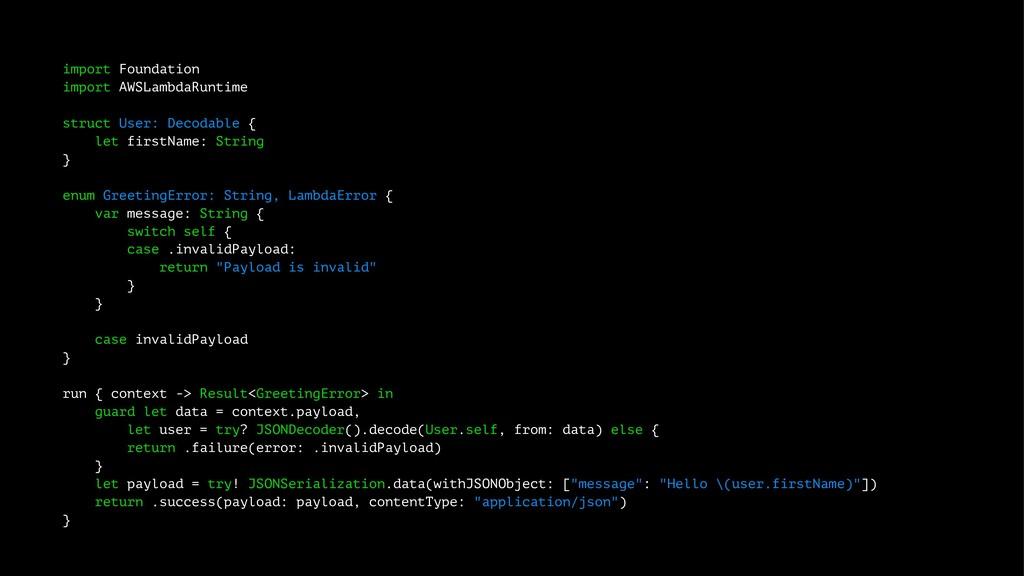 import Foundation import AWSLambdaRuntime struc...