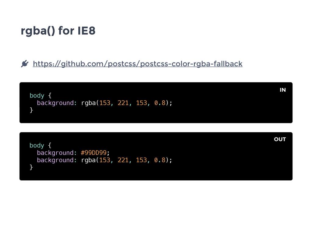 rgba() for IE8 body { background: rgba(153, 221...