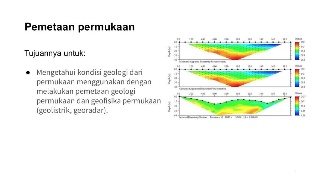 Pemetaan permukaan Tujuannya untuk: ● Mengetahu...