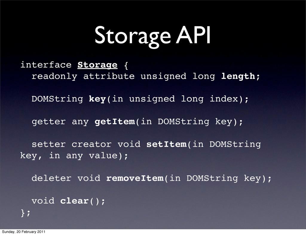 Storage API interface Storage { readonly attrib...