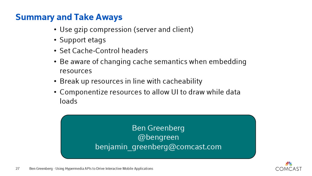 Summary and Take Aways • Use gzip compression (...
