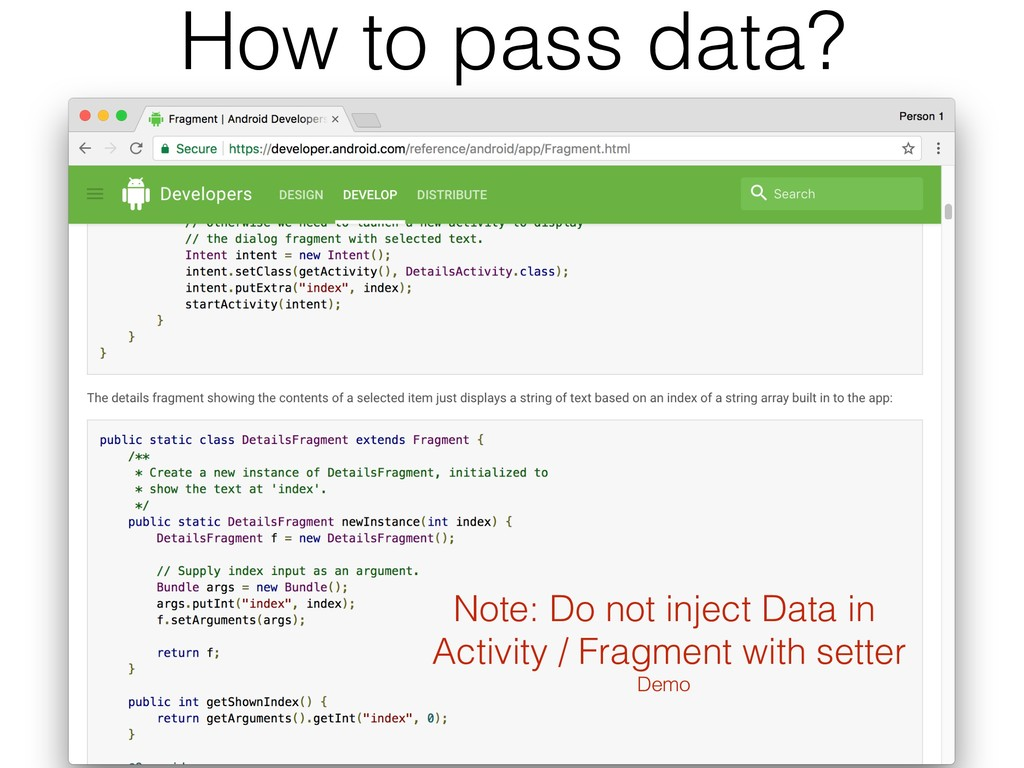 How to pass data? Note: Do not inject Data in A...