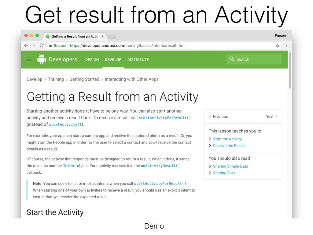 Get result from an Activity Demo