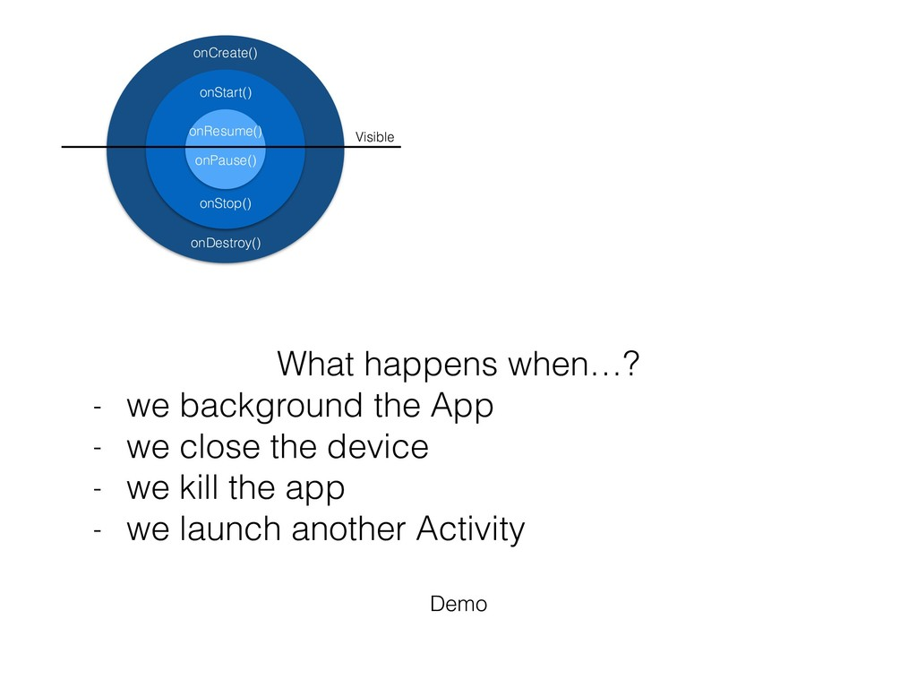 What happens when…? - we background the App - w...