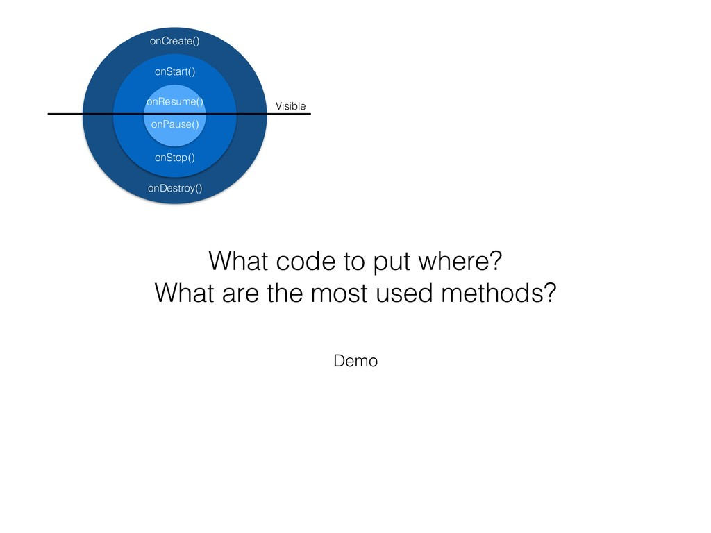 Demo What code to put where? What are the most ...