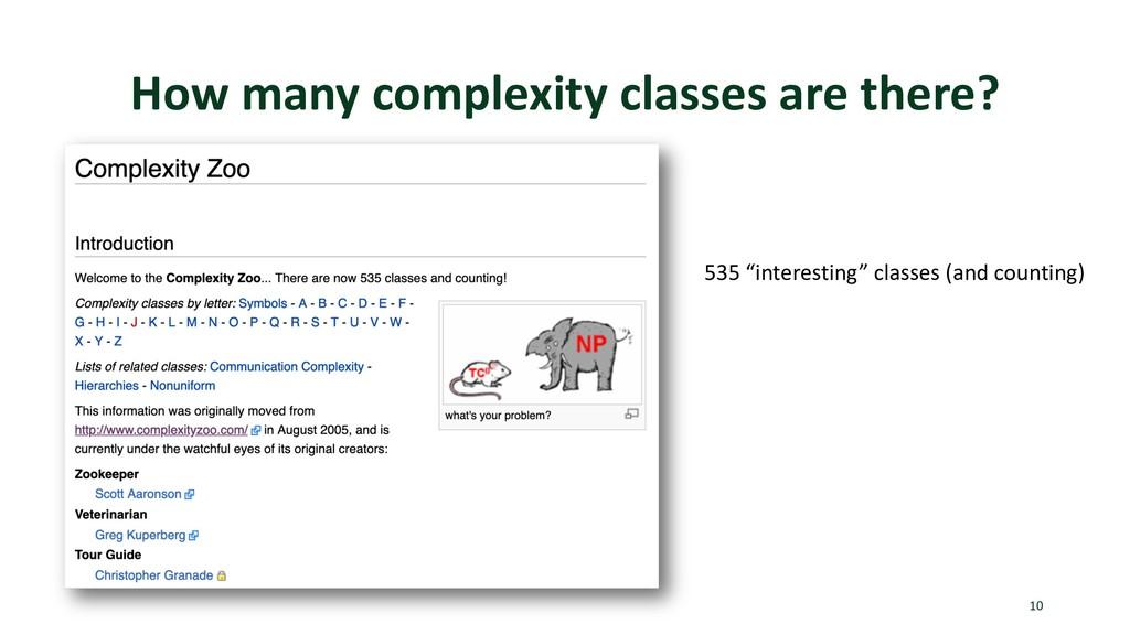 "How many complexity classes are there? 10 535 ""..."
