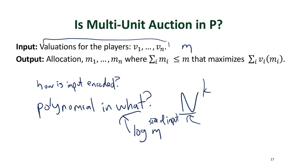 Is Multi-Unit Auction in P? 17 Input: Valuation...