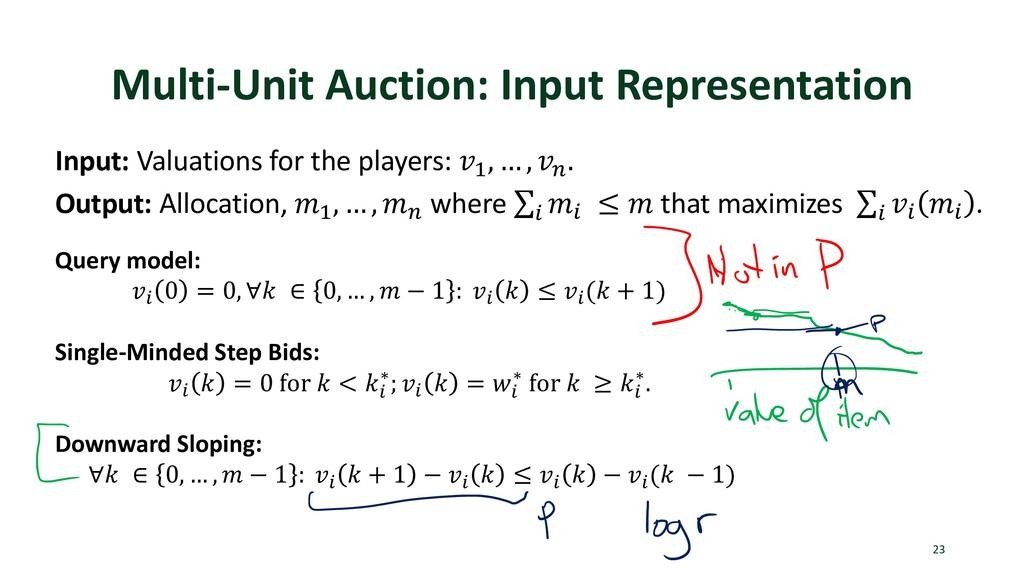 Multi-Unit Auction: Input Representation 23 Inp...
