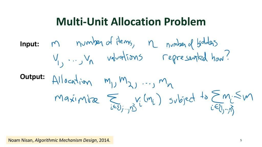 Multi-Unit Allocation Problem Input: Output: 5 ...