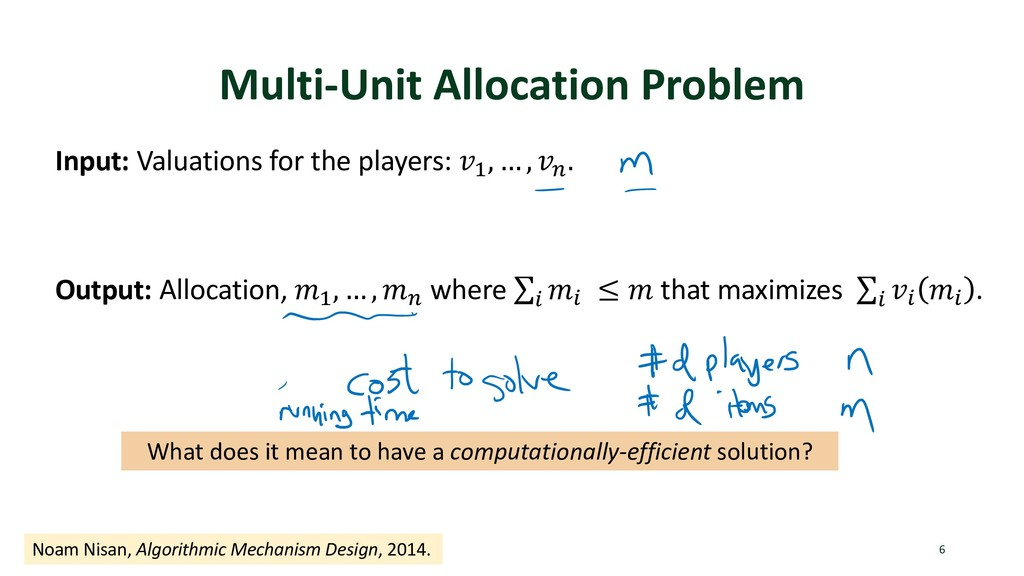 Multi-Unit Allocation Problem Input: Valuations...