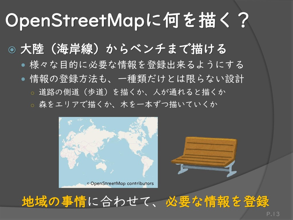 OpenStreetMapに何を描く?  大陸(海岸線)からベンチまで描ける  様々な目的...