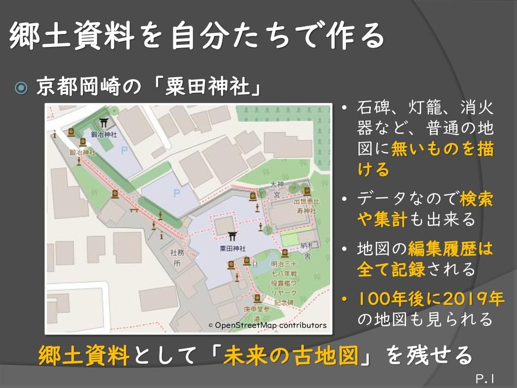 郷土資料を自分たちで作る  京都岡崎の「粟田神社」 P.1 • 石碑、灯籠、消火 器など、普...