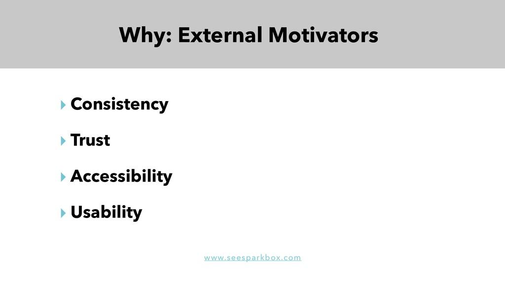 Why: External Motivators ‣ Consistency ‣ Trust ...
