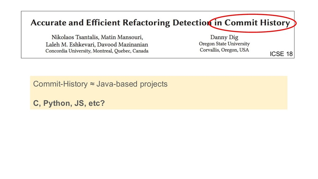 Commit-History ≈ Java-based projects C, Python,...