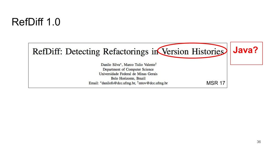 RefDiff 1.0 36 Java? MSR 17
