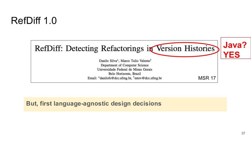 RefDiff 1.0 37 But, first language-agnostic des...
