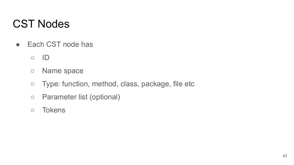 CST Nodes ● Each CST node has ○ ID ○ Name space...